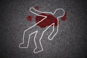crime scene - shape of body on asphalt texture